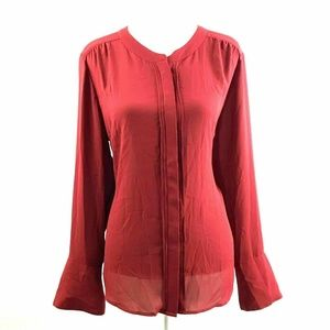 The Limited Womens Sz XL Pleated Blouse Button
